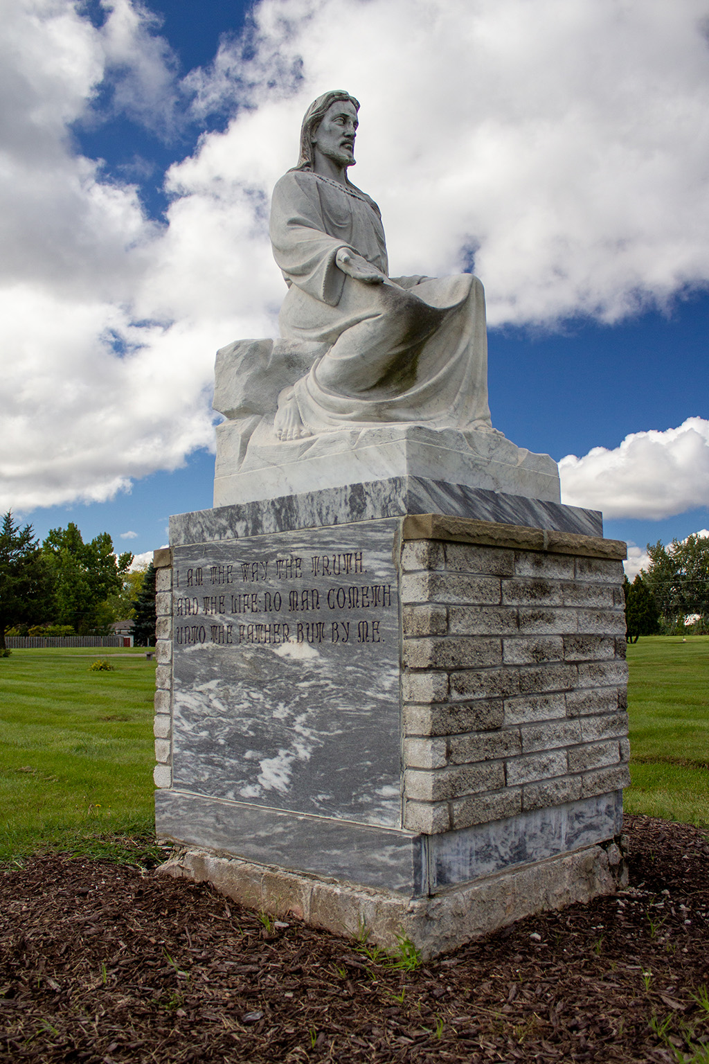 statue of Christ on grounds of East cemetery