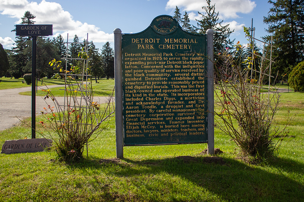 historic marker on grounds of East cemetery