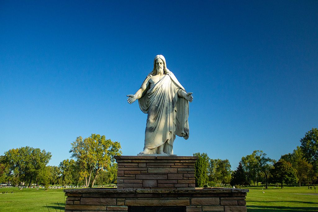 Statue on grounds of West cemetery