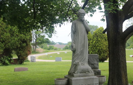 Statue on the grounds of Detroit Memorial Park Cemetery, Historical Gracelawn
